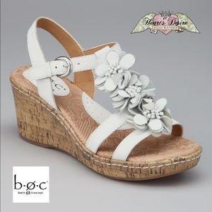 boc Born Concept Wht Leather Floral Wedge Sandals
